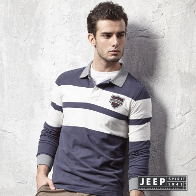 JEEP 運動時尚藍白撞色領POLO衫(合身版)