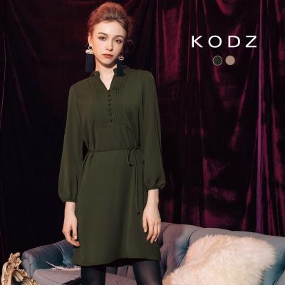東京著衣-KODZ 歐美氣質優雅微光澤設計洋裝-附綁帶-S.M.L(共二色)