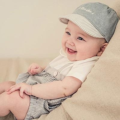 韓國 Happy Prince 灰藍條紋拼接繡字鴨舌嬰兒帽