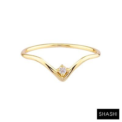 SHASHI 紐約品牌 DILLON 圓形單鑽戒指 優雅V造型 925純銀鑲18K金