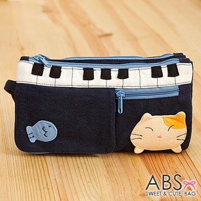 ABS貝斯貓 - 鋼琴貓咪拼布雙層拉鍊錢包 長夾88-176 - 海藍