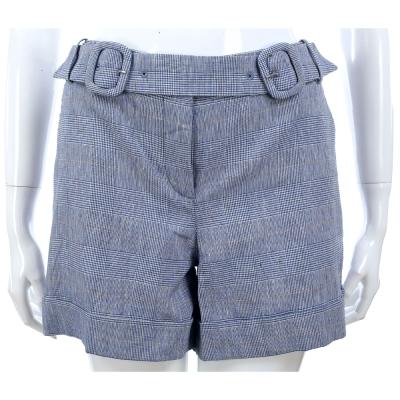 SCERVINO 藍色格紋雙環釦反摺棉麻短褲