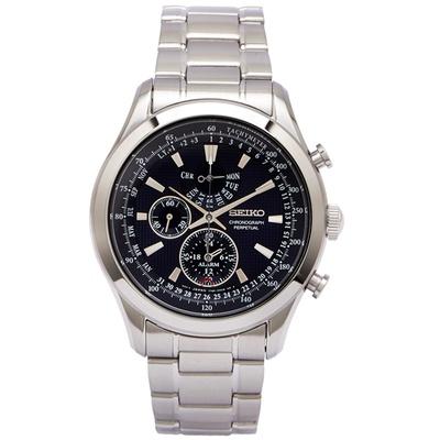 SEIKO 藍色貴族風男性雙眼計時手錶(SPC125P1)-藍/42mm