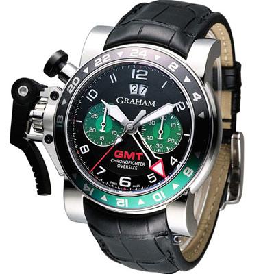 GRAHAM Chronofighter 大尺寸GMT 計時機械錶-黑x綠圈/45mm