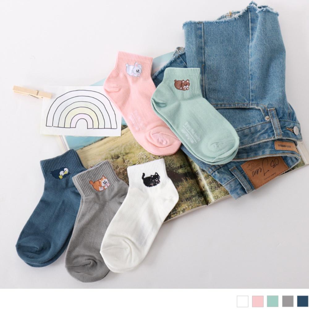 韓國可愛動物刺繡短筒襪.5色(任3入198)-OB大尺碼