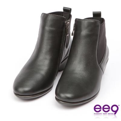 ee9經典手工~質感簡約百搭素面粗跟踝靴*黑色