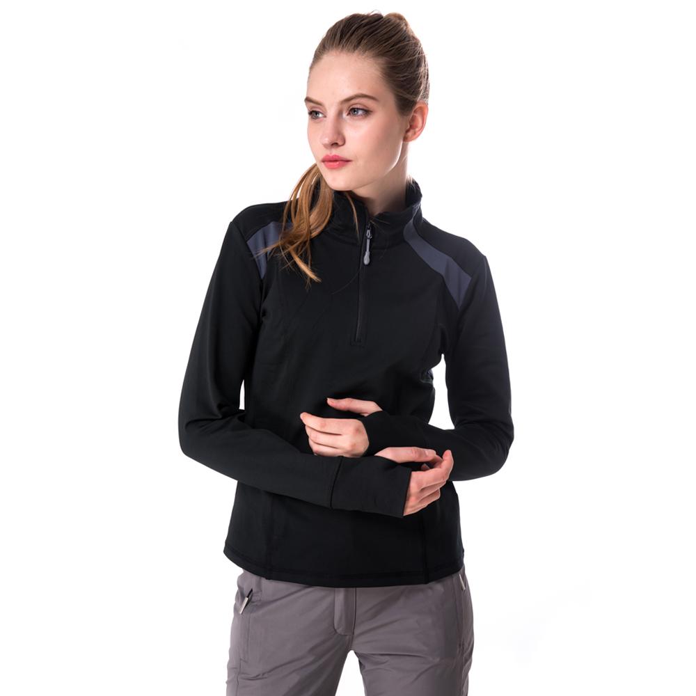 【hilltop山頂鳥】女款ZISOFIT彈性半開襟保暖上衣H51FF9黑/灰藍