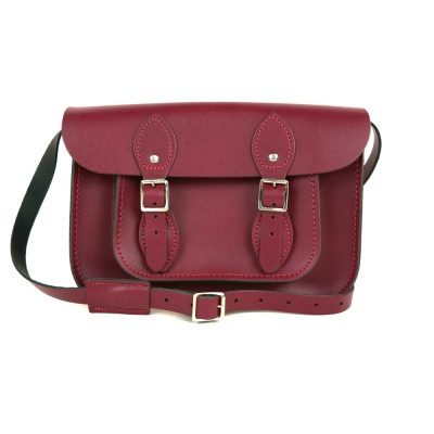 The Leather Satchel 英國手工牛皮劍橋包 肩背 側背包 葡萄紅 11吋
