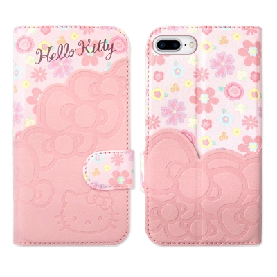 Hello-Kitty-iPhone-7-Plus-5-5吋-立體拼接磁扣皮套-KT碎花