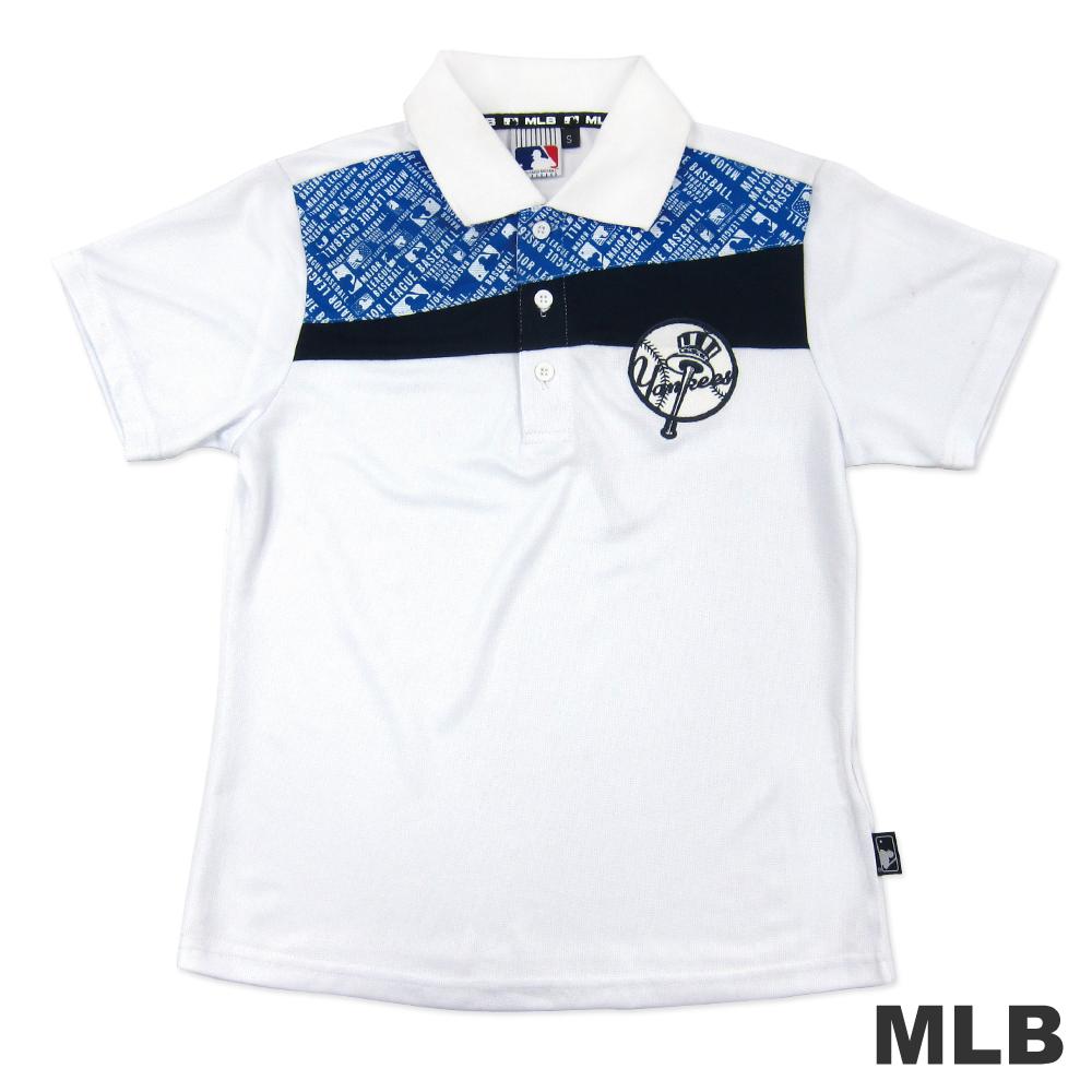 MLB-紐約洋基隊排汗舒適POLO衫-白男童