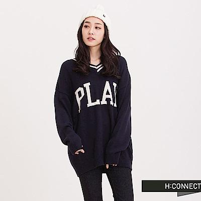 H:CONNECT 韓國品牌 女裝 - PLAY棉針織毛衣- 藍