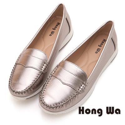 Hong Wa 閃耀亮面動人舒適休閒鞋 - 銀灰