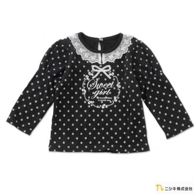 Nishiki 日本株式會社 黑色款點點蕾絲領長袖上衣
