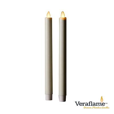 Veraflame 擬真火焰長條蠟燭組- 10吋(象牙白)