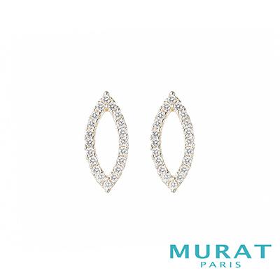 MURAT Paris米哈巴黎 優雅鏤空滿鑽耳環(金色款)