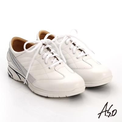 A.S.O 紓壓耐走 簡約牛皮縫線拼接奈米休閒鞋 白色
