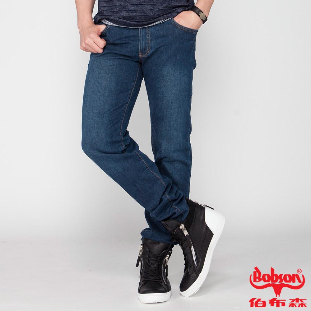 BOBSON 男款低腰膠原蛋白彈性直筒褲(藍1790-53)