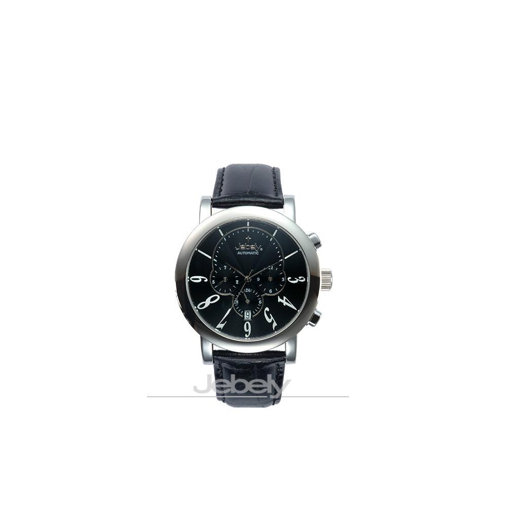 Jebely瑞士機械錶-聖莫里茲塔系列三眼造型-黑/42mm