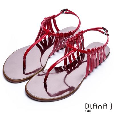 DIANA 摩登時尚--層次細帶線條T字夾腳涼鞋 –紅