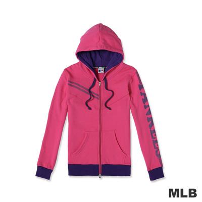 MLB-紐約洋基隊運動連帽印花長袖外套-桃紅(女)