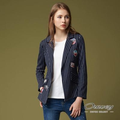 OUWEY歐薇 時尚率性條紋外套(藍)-動態show