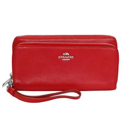 COACH深紅色全皮銀字飾牌附手掛帶雙層長夾