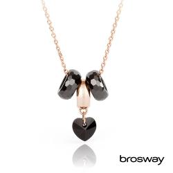 brosway Tres Jolie 施華洛世奇水鑽不鏽鋼項鍊 金/心鑽黑