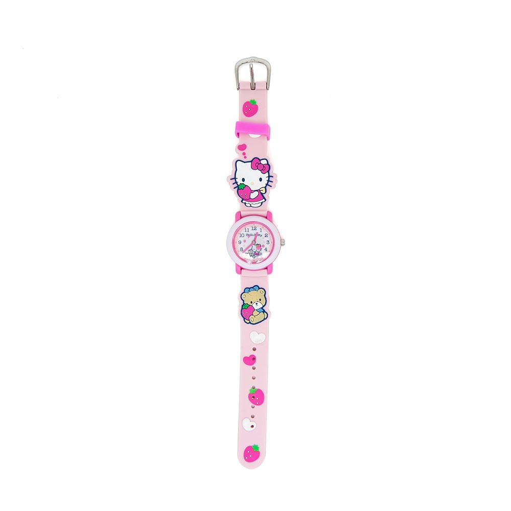 Sanrio HELLO KITTY粉紅矽膠錶帶兒童手錶(甜蜜草莓)