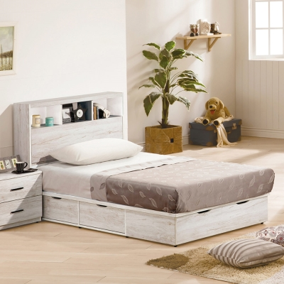 H&D 狄倫古橡木3.5尺床箱式單人床台