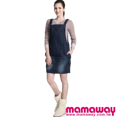 Mamaway-孕期牛仔吊帶裙-共二色