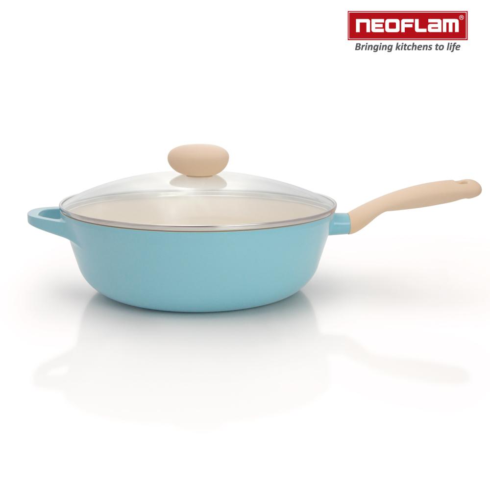 韓國NEOFLAM Retro公主鍋系列陶瓷不沾炒鍋30cm+玻璃鍋蓋