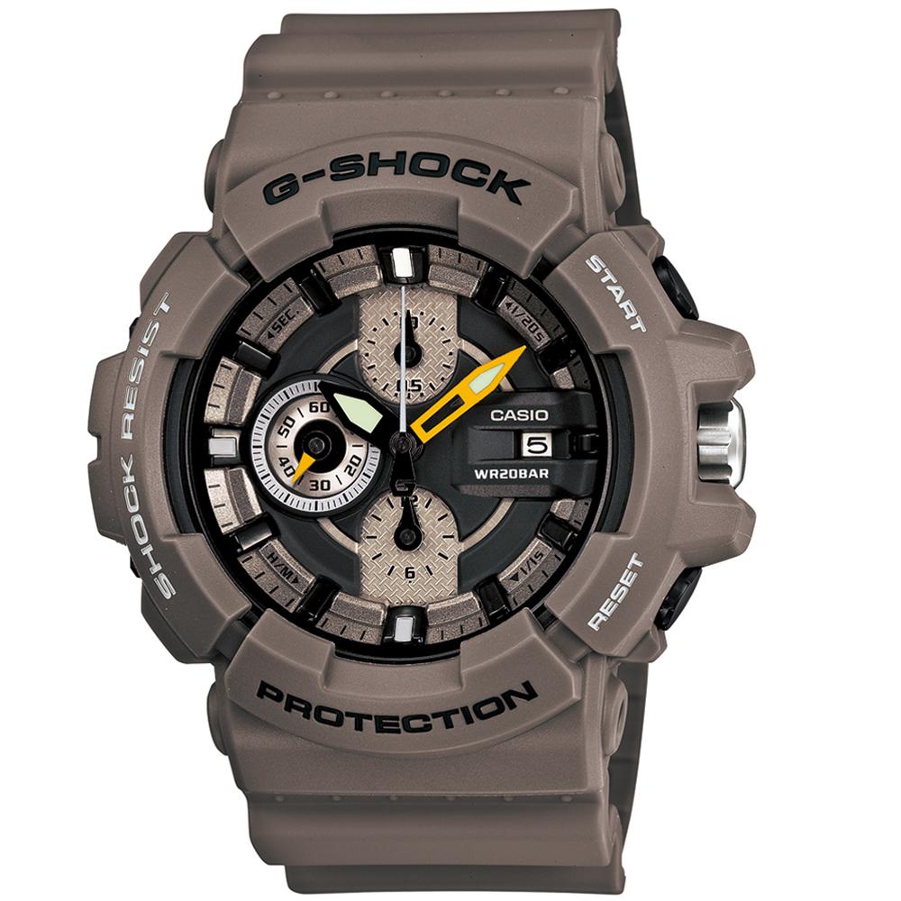 G-SHOCK 大螺絲鎖多層次剛毅運動休閒錶-咖啡/55mm