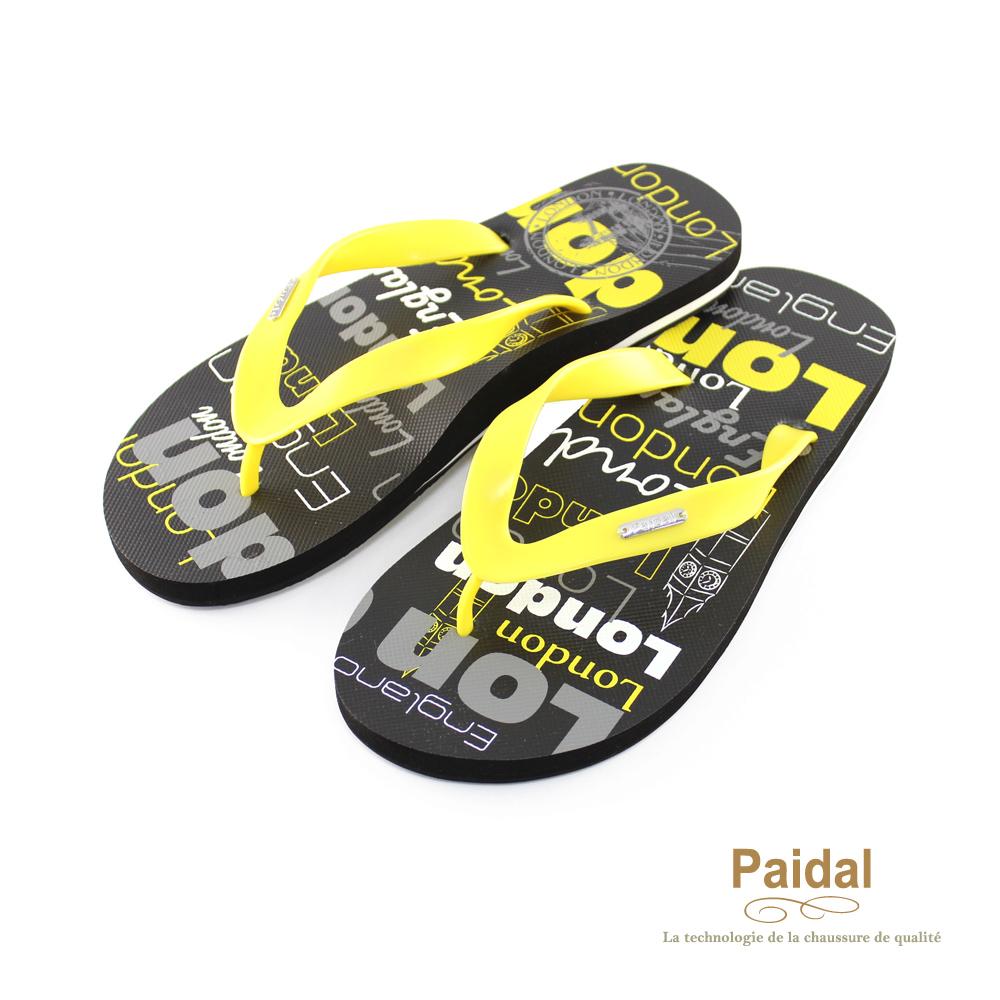 Paidal 男款塗鴉風個性倫敦夾腳拖海灘拖人字拖鞋-黃