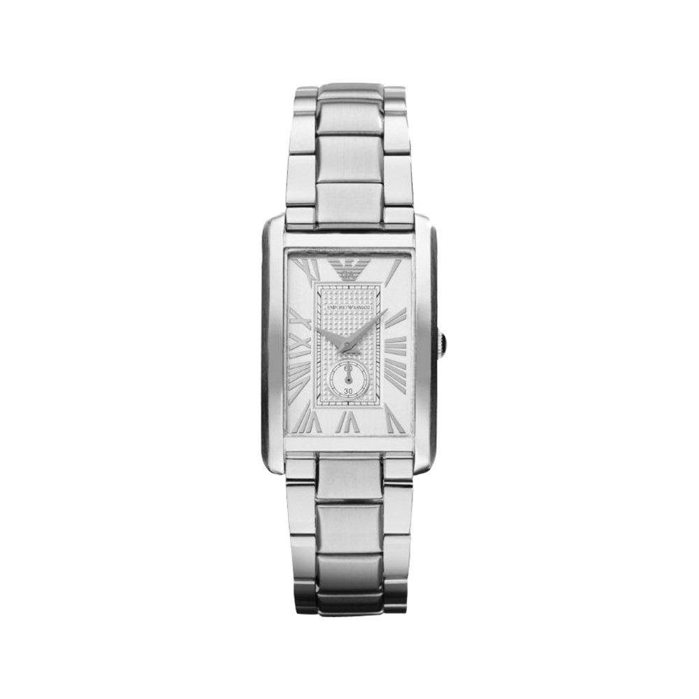 ARMANI 爵士時尚經典小秒針女錶-銀/25mm