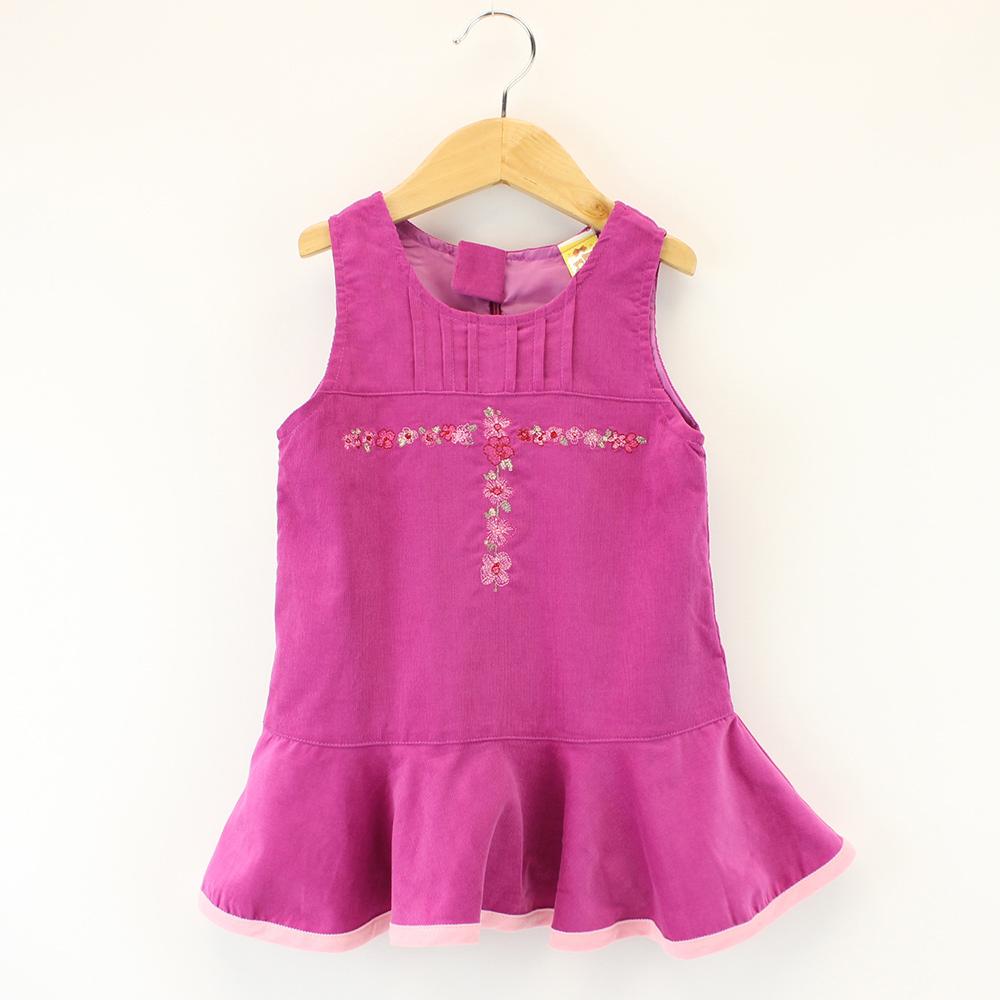 愛的世界 MYBABY 純棉細條絨背心洋裝/2~4歲