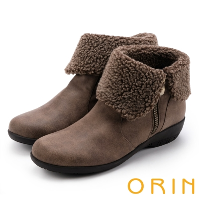 ORIN 時髦流行暖呼呼 領口反毛拉鍊短靴-棕色