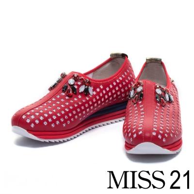 休閒鞋 MISS 21 撞色時尚異材質拼接休閒鞋-紅