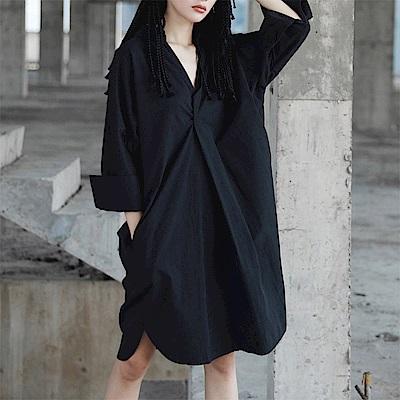 做舊感套頭中長襯衫裙洋裝-設計所在