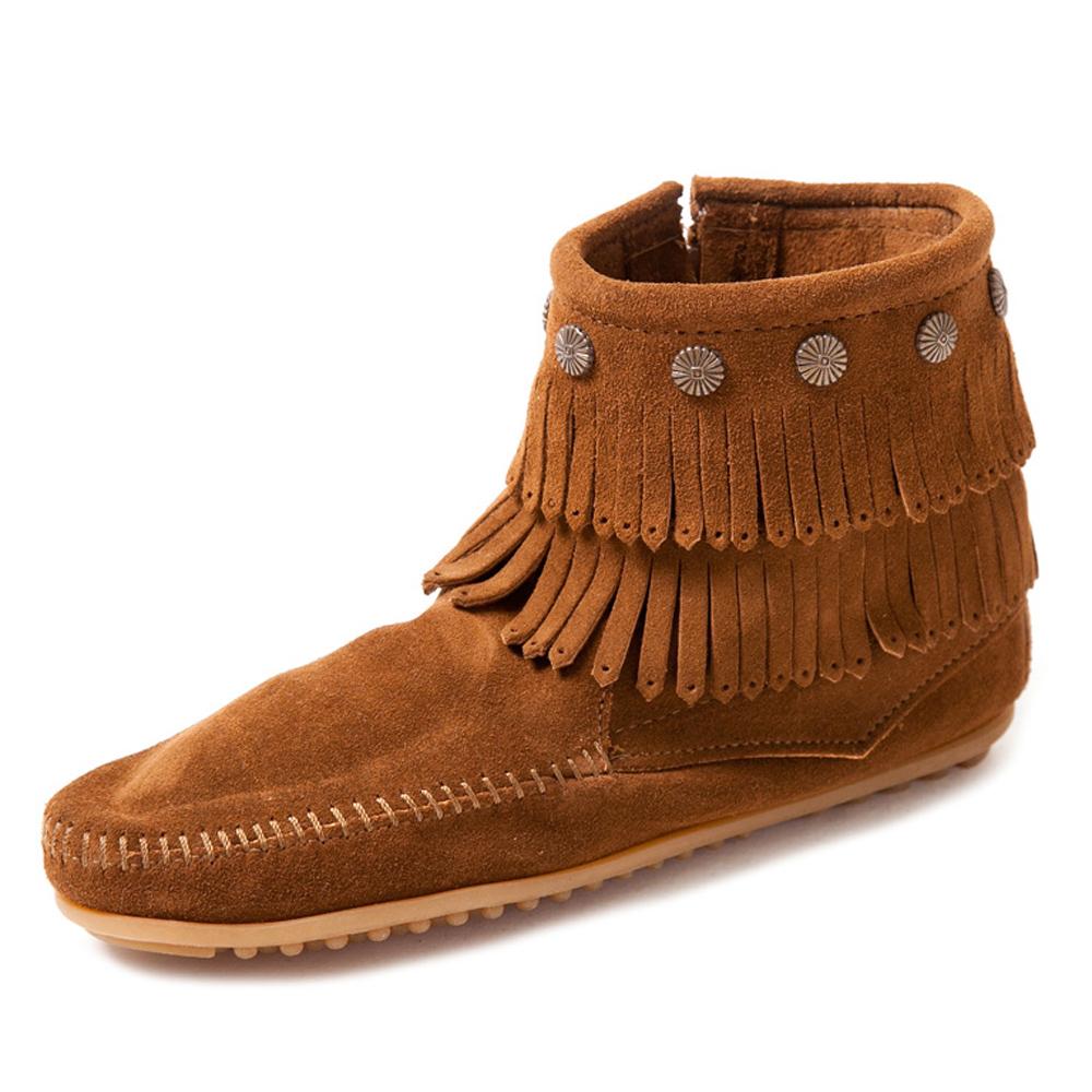 MINNETONKA-SIDE ZIP雙層麂皮流蘇踝靴-紅棕色