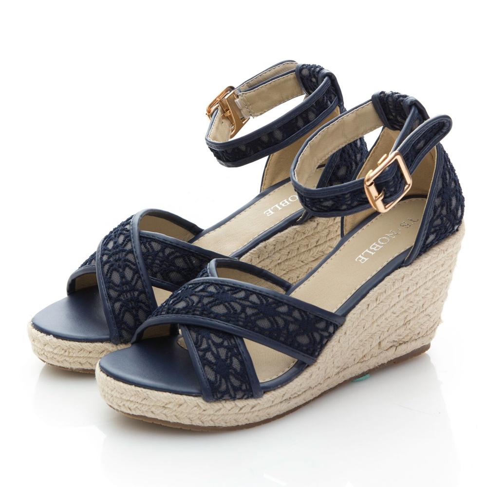 JMS-唯美質感交叉蕾絲環踝楔型涼鞋-藍色