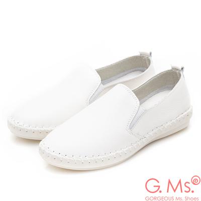 G.Ms. 牛皮素面縫線懶人休閒鞋S款-白色