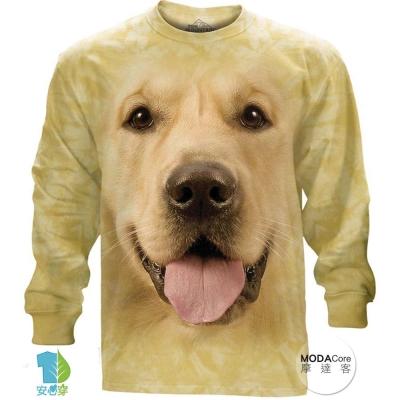 摩達客 美國進口The Mountain  大黃金獵犬臉 純棉長袖T恤