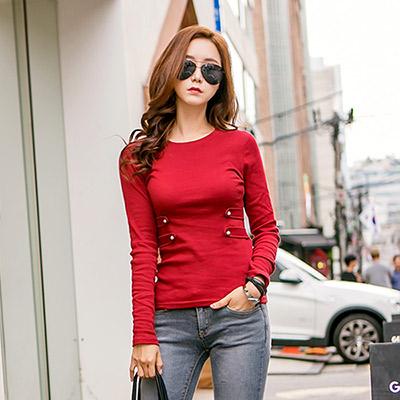 正韓-素色珍珠造型釦飾棉質上衣-共三色-N-C21
