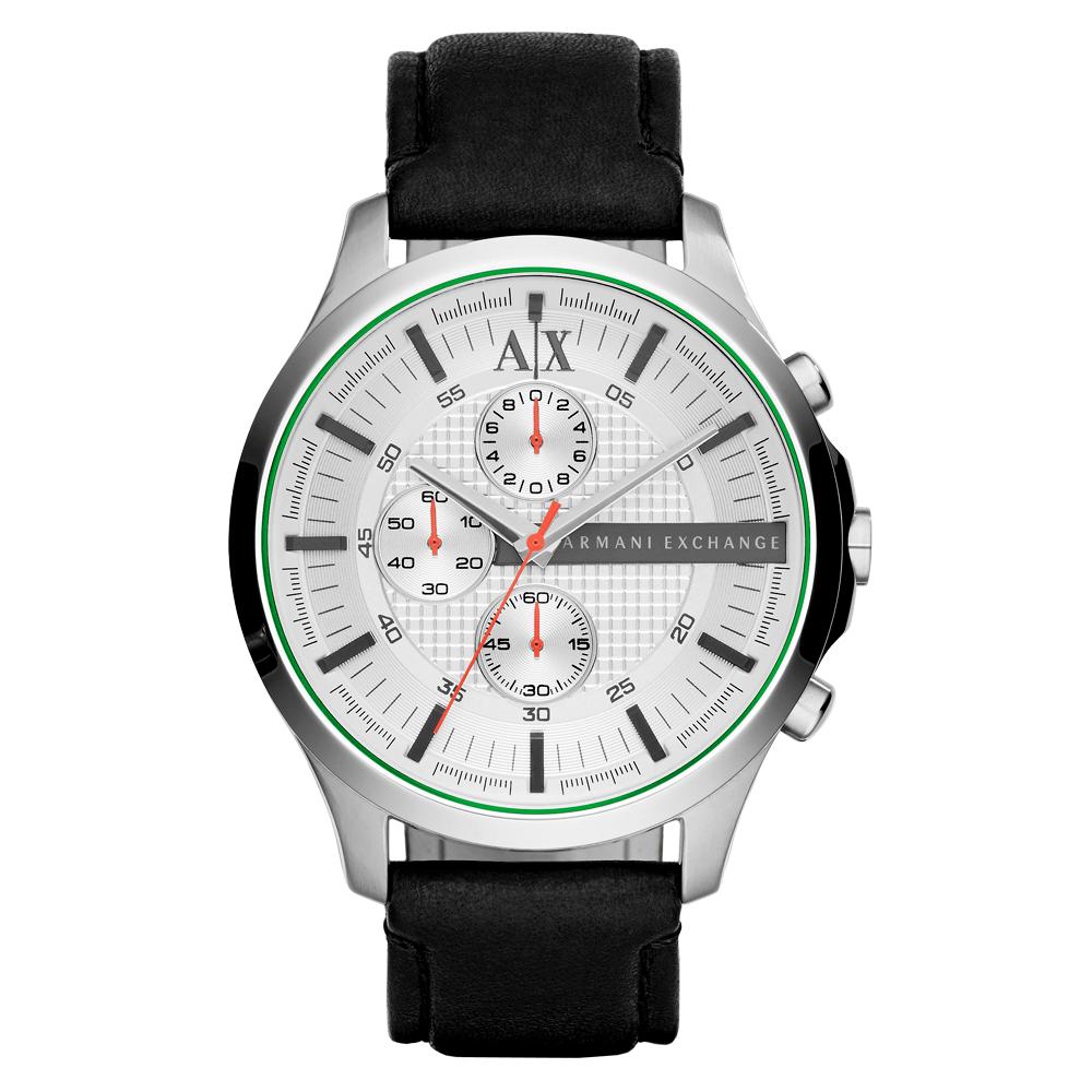 A│X Armani Exchange 翱翔天際三眼計時腕錶-白x黑色錶帶/46mm