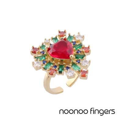 Noonoo Fingers AC Red Heart Ring 紅心 鑲水鑽 戒指