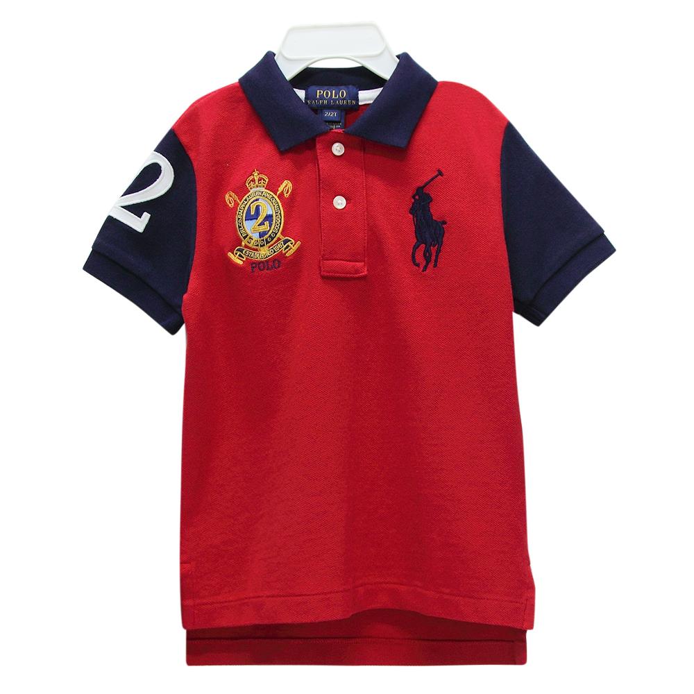 Ralph Lauren 男童徽章經典刺繡大馬短袖POLO衫-紅/藍(2/2T)