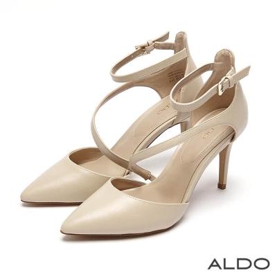 ALDO 原色幾何斜邊鏤空尖頭細高跟鞋~氣質裸色