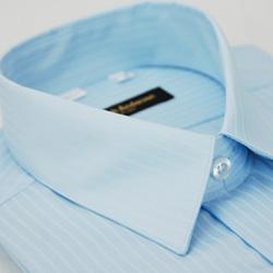 金‧安德森 藍色類絲質窄版短袖襯衫