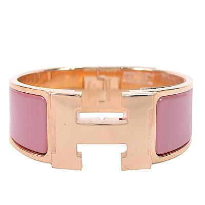 HERMES Clic Clac H PM 經典LOGO設計手環(莓粉x玫瑰金)