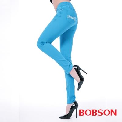 BOBSON 女款膠原蛋白彩色小直筒褲 -水藍